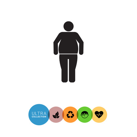 adiposity: Vector icon of standing obese man silhouette Illustration
