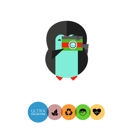 taking photo: Vector icon of little funny penguin taking photo