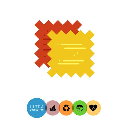 Multicolored vector icon of yellow and red pieces of cloth