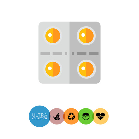 a tablet blister: Multicolored vector icon of yellow round pills in blister pack