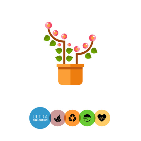 indoor bud: Multicolored vector icon of pink blooming flower in pot