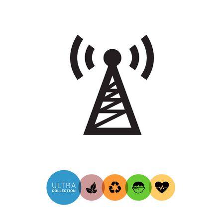 transmitting: Vector icon of radio tower transmitting signal