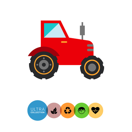 mover: Multicolored vector icon of red industrial tractor