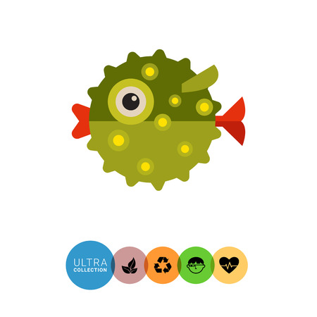 bloat: Multicolored vector icon green of puffer fish, side view