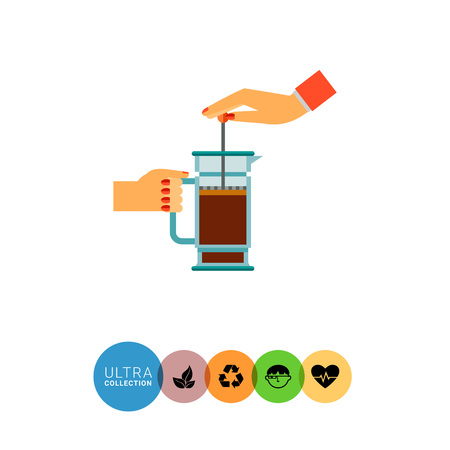 stimulant: Icon of human hands pushing coffee pot press Illustration