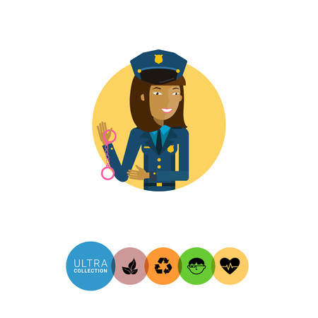 policewoman: Female character, portrait of young Asian policewoman holding handcuffs Illustration
