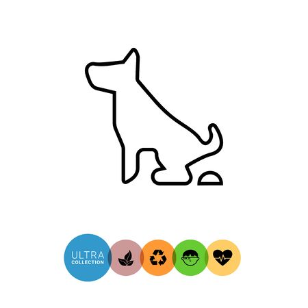defecation: Icon of pooping dog sign