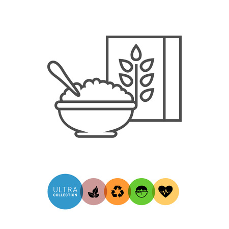rational: Icon of bowl with porridge and carton Illustration