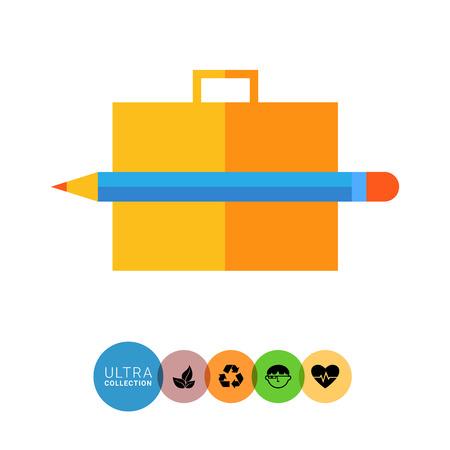 brief case: Icon of brief case and pencil Illustration