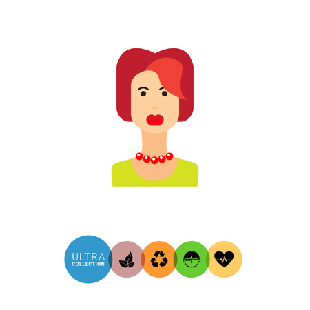 redheaded: Female character icon, portrait of young redheaded woman Illustration