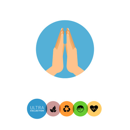 believer: Icon of two human praying hands in blue circle