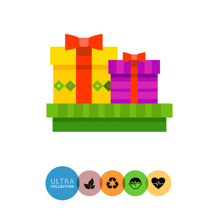 obody: Multicolored vector icon of three present boxes with bows