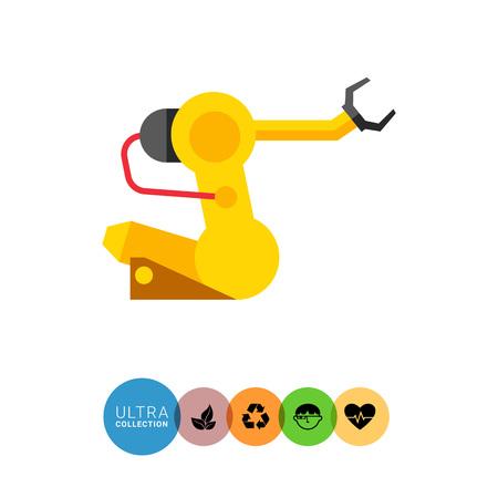 Image de manipulateur jaune complet avec levier et bras robotisé