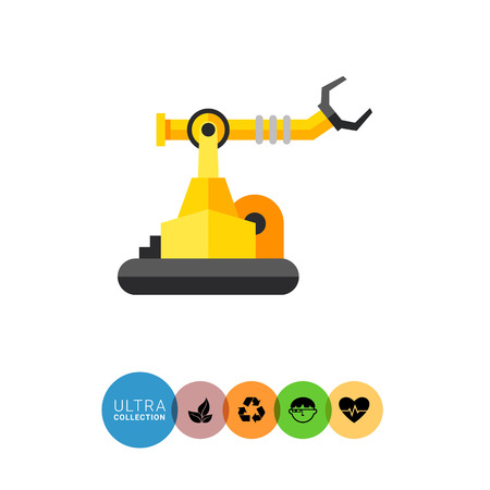 manipulator: Multicolored vector icon of industrial robot with arm manipulator