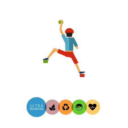 alpinist: Multicolored vector icon of alpinist on climbing wall Illustration