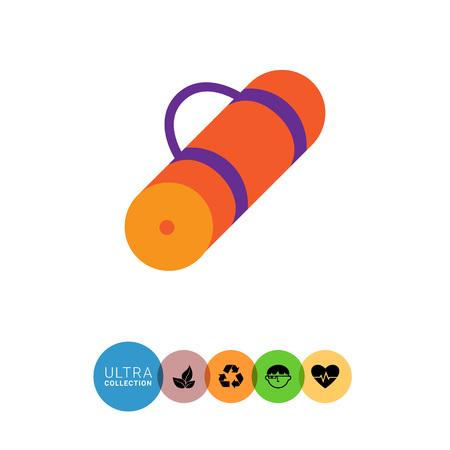 sport mats: Vector icon of rolled-up orange tourist mat Illustration