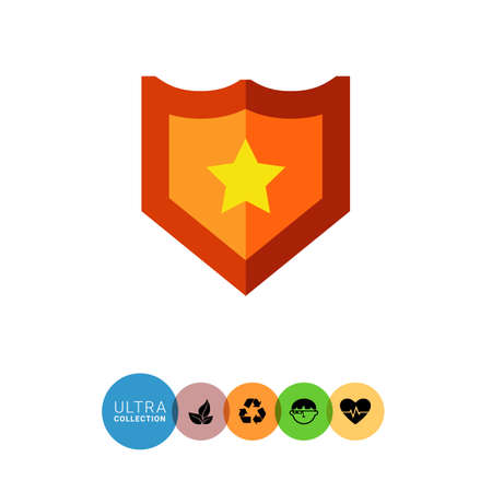 yellow star: Multicolored vector icon of shield with yellow star Illustration