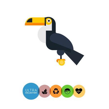 perch: Multicolored vector icon oftoucan sitting on perch