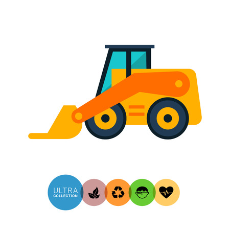 skid loader: Multicolored vector icon of yellow skid loader Illustration