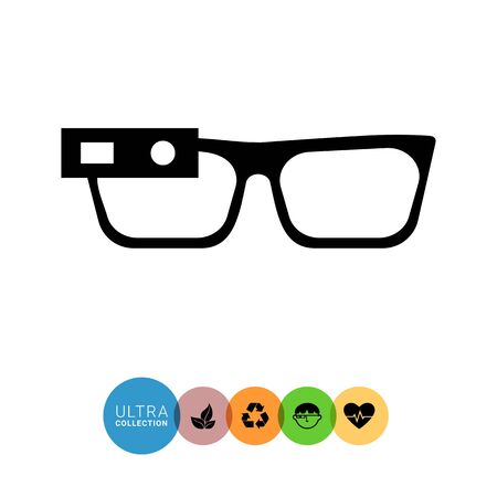 spectacles: Vector icon of smart glasses mounted on spectacles