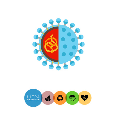diarrhea illustration: Rotavirus icon. Multicolored vector illustration of microorganism caused rotavirus infection Illustration