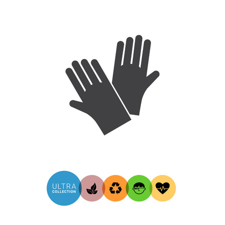 latex glove: Icon of protective rubber gloves
