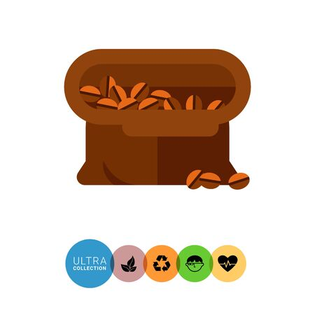 coffee sack: Icon of open brown tissue sack full of coffee beans Illustration