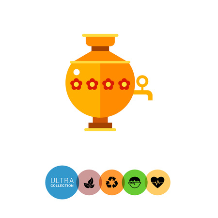 to boiling: Multicolored vector icon of samovar, special kettle for boiling water for tea in Russia