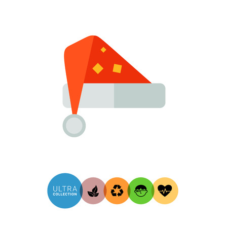 carnival costume: Multicolored vector icon of red Santa hat Illustration