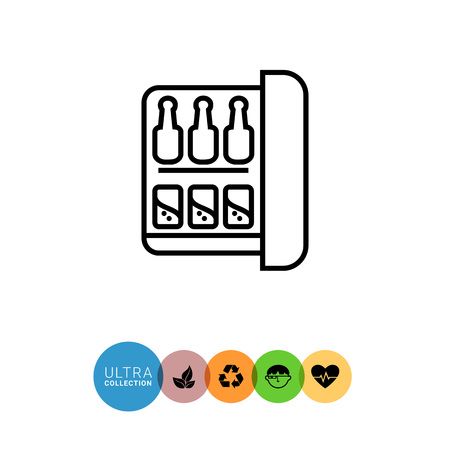 Icon of minibar with bottles and cans Illustration