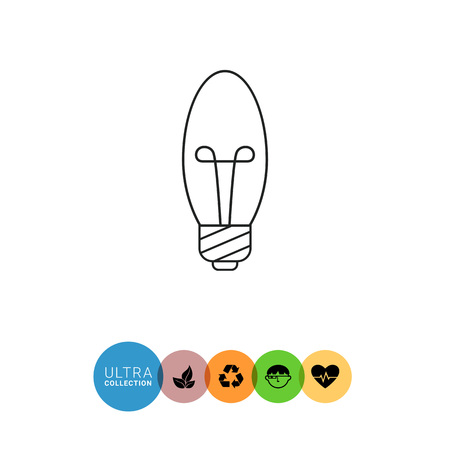 small lamp: Line icon of minion candle bulb Illustration