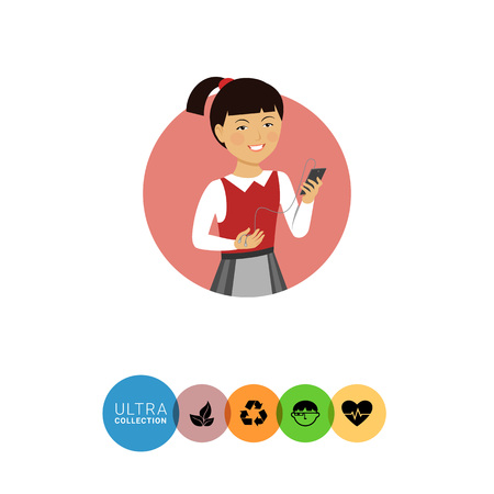 early teens: Female character, portrait of smiling Asian schoolgirl holding smartphone with headphones