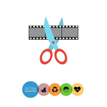 shot: Vector icon of scissors cutting film shot