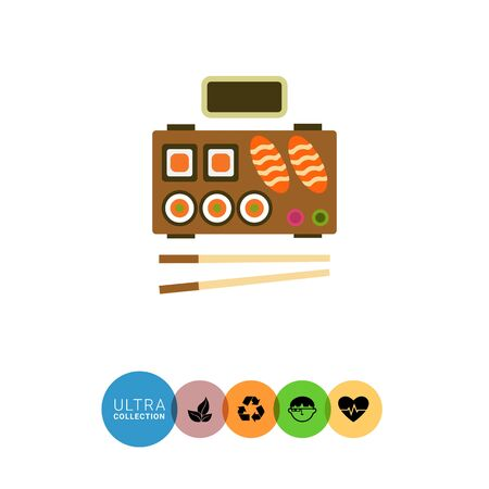 served: Vector icon of served traditional Japanese sushi with chopsticks