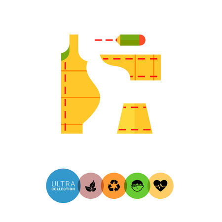 sewing pattern: Multicolored vector icon of sewing pattern with pencil