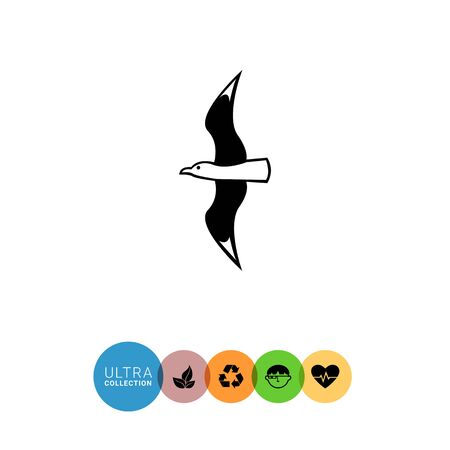 seabird: Seagull flat icon. Vector minimalistic illustration of flying bird