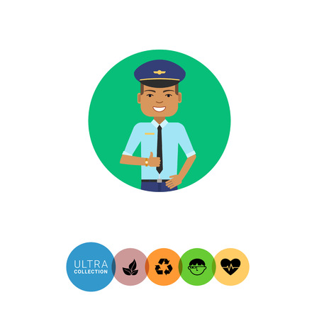 belt up: Male character, portrait of smiling pilot showing approval gesture