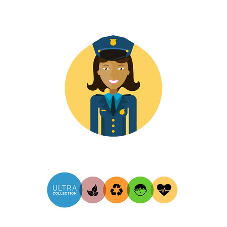 medium length hair: Female character, portrait of young Asian smiling policewoman Illustration