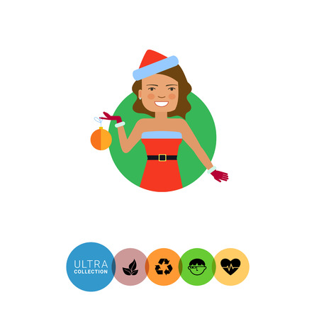 medium length: Female character, portrait of smiling woman wearing red Santa costume, holding Christmas ball