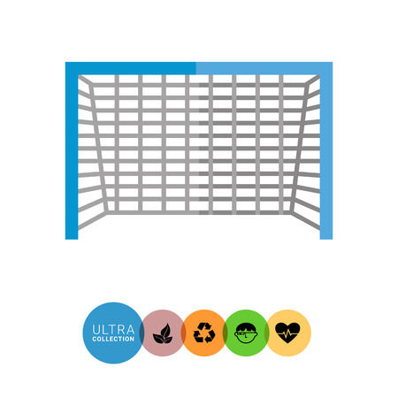 soccer net: Multicolored flat icon of soccer goal with blue frame and grey net