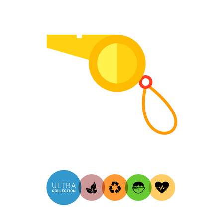 umpiring: Multicolored vector flat icon of yellow sport whistle