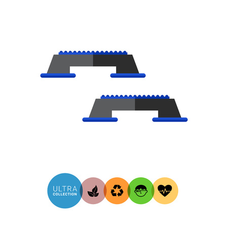 bottom: Multicolored flat icon of two black step platforms with blue rubber upper and bottom parts Illustration