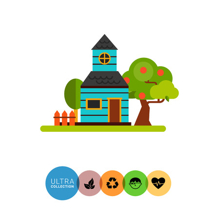 cottage garden: Summer cottage flat icon. Multicolored vector illustration of house with garden and orchard in summer season