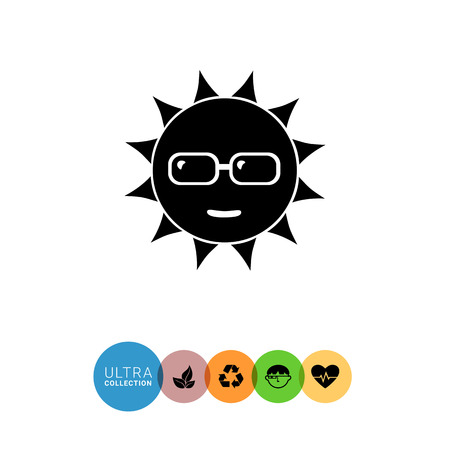 spend the summer: Monochrome vector simple icon of smiling sun in sunglasses