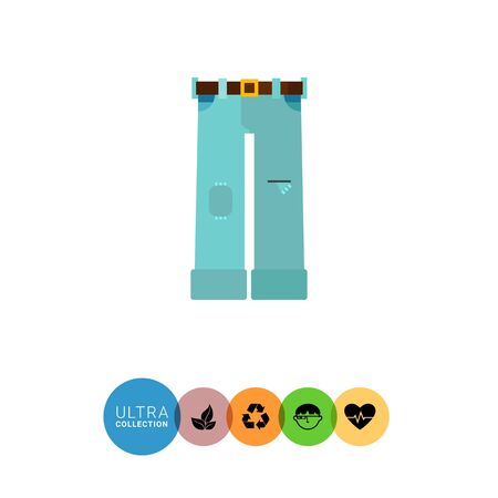 holey: Summer jeans flat icon. Multicolored vector illustration of ripped jeans with patch and belt