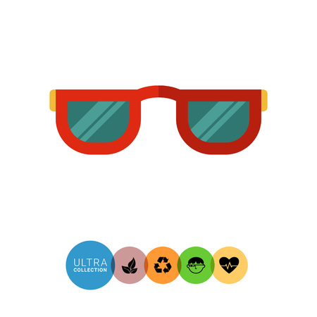 the accessory: Multicolored vector icon of red accessory sunglasses Illustration