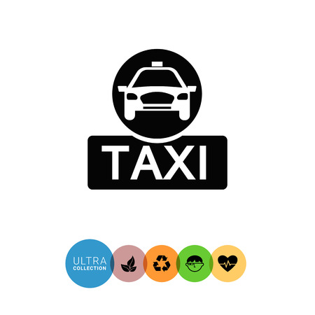 front wheel drive: Vector icon of taxi sign with taxi car silhouette