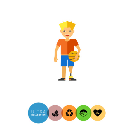 boy basketball: Multicolored flat icon of teenage boy with prosthesis in basketball uniform and holding ball