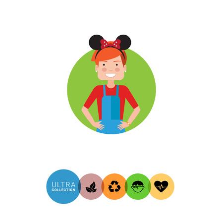 headband: Female character, portrait of teenage girl wearing headband with Mickey Mouse ears