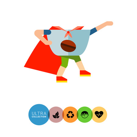 vivacity: Icon of animated superhero coffee cup with arms and legs wearing cape